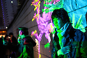 Visitors of the artistic lights show projection at Cheonggyecheon streem in the Seoul city centre. / Seoul, South Korea, Republic of Korea, KOR, 25 December 2009.