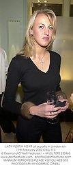 LADY PORTIA AGAR at a party in London on 11th February 2002.	OXG 113