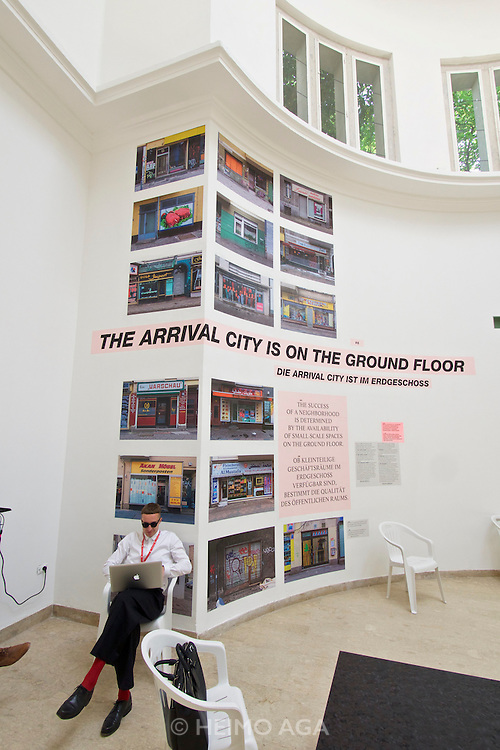 """Venice, Italy - 15th Architecture Biennale 2016, """"Reporting from the Front"""".<br /> Giardini.<br /> German Pavilion. MAKING HEIMAT. Germany, Arrival Country."""