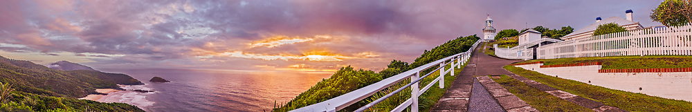 A panorama of sunrise at the Smoky Cape Lighthouse, on the New South Wales Mid-North Coast, Australia. I shot this at dawn on April 28, 2016. The Lighthouse was staffed until the 1980s when all lighthouses were automated. The keepers&rsquo; cottages are now rentable. <br /> <br /> This is a 7-section panorama with each section being a 5-exposure HDR stack, all stacked and stitched in Adobe Camera Raw.