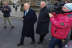 © Licensed to London News Pictures . 01/03/2013 . Preston , UK . STUART HALL (2nd from left) leaves Preston Crown Court today (1st March 2013) . The broadcaster is accused of rape and sexual assault . Photo credit : Joel Goodman/LNP