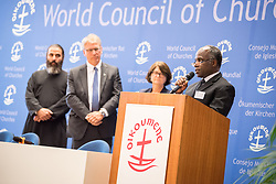 "18 September 2017, Geneva, Switzerland: The World Council of Churches formally opens the ""12 Faces of Hope"" exhibition at the Ecumenical Centre in Geneva. The exhibition faces 12 people from Israel and Palestine, sharing testimonies of hope, towards a future of justice and peace in the Holy Land. Here, Brighton Ltengano Killewa from the Evangelical Lutheran Church in Tanzania."