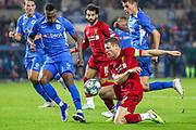 Liverpool midfielder James Milner (7) under pressure from KRC Genk defender Carlos Cuesta (46) during the Champions League match between KRC Genk and Liverpool at Liminus Arena, Genk, Belgium on 23 October 2019.