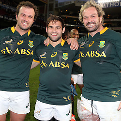 CAPE TOWN, SOUTH AFRICA - SEPTEMBER 27: Bismarck du Plessis with Cobus Reinach and Jannie du Plessis of South Africa during The Castle Rugby Championship match between South Africa and Australia at DHL Newlands on September 27, 2014 in Cape Town, South Africa. (Photo by Steve Haag)