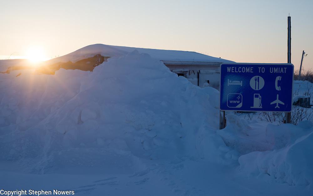 Welcome sign at the Umiat, Alaska runway.