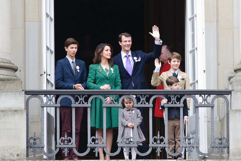 16.04.2015. Copenhagen, Denmark.<br /> Prince Nikolai, Princess Marie, Prince Joachim, Prince Felix, Prince Henrik, Princess Athena appear on the Balcony of Amalienborg Palace on The 75th Birthday of Queen Margrethe II of Denmark.<br /> Photo:© Ricardo Ramirez