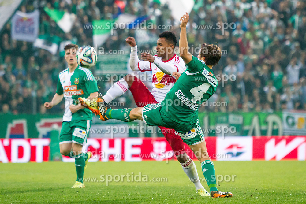 26.04.2014, Gerhard Hanappi Stadion, Wien, AUT, 1. FBL, SK Rapid Wien vs Red Bull Salzburg , 34. Runde, im Bild Valentino Lazaro, (Red Bull Salzburg, #37), Thomas Schrammel, (SK Rapid Wien, #4)// during Austrian Bundesliga Football Match, 34th Round, between SK Rapid Wien and Red Bull Salzburg at the Gerhard Hanappi Stadion, Vienna, Austria on 2014/04/26. EXPA Pictures © 2014, PhotoCredit: EXPA/ Sebastian Pucher