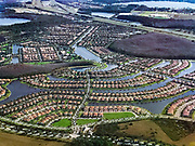 Aerial of a residential lake community, Orlando, Florida, USA.