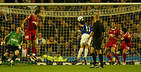 Photo: Aidan Ellis.<br /> Everton v Dinamo Bucuresti. UEFA Cup. 29/09/2005.<br /> Everton's Tim Cahill scores the first goal