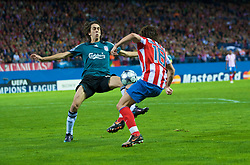 MADRID, SPAIN - Wednesday, October 22, 2008: Liverpool's Yossi Benayoun tackles Club Atletico de Madrid's Maniche in the penalty area during the UEFA Champions League Group D match at the Vicente Calderon. (Photo by David Rawcliffe/Propaganda)