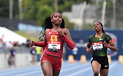 Jul 25, 2019; Des Moines, IA, USA; Twanisha Terry of Southern California places third in women's 100m heat in 11.41 to advance during the USATF Championships at Drake Stadium.