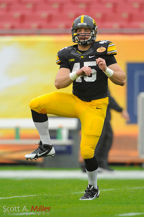 Iowa Hawkeyes fullback Mark Weisman (45) prior to the 2014 Outback Bowl at Raymond James Stadium on Jan. 1, 2014 in Tampa, Florida. <br /> <br /> &copy;2014 Scott A. Miller