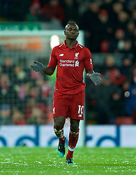 LIVERPOOL, ENGLAND - Wednesday, January 30, 2019: Liverpool's Sadio Mane celebrates scoring the first goal during the FA Premier League match between Liverpool FC and Leicester City FC at Anfield. (Pic by David Rawcliffe/Propaganda)