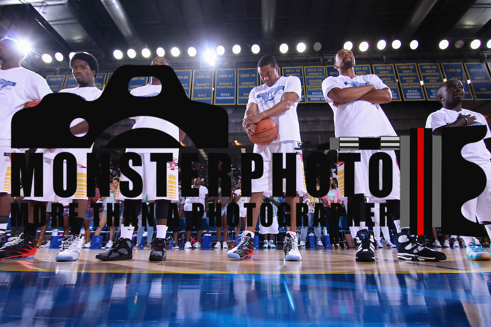 Player from the white team stands at attention during the national anthem prior to The 2015 Duffy's Hope Celebrity Basketball Game Saturday, August 01, 2015, at The Bob Carpenter Sports Convocation Center, in Newark, DEL.    <br /> <br /> Proceeds will benefit The Non-Profit Organization Duffy's Hope Youth Programming.