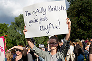 UNITED KINGDOM, London: 03 June 2019<br /> Hundreds of protesters gather outside Buckingham Palace to protest against President Donald Trump as he is due to arrive by helicopter at The Queens residence for an official state banquet.