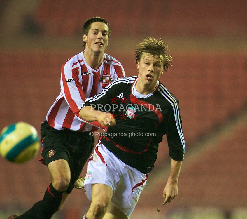 SUNDERLAND, ENGLAND - Wednesday, February 13, 2008: Liverpool's Marvin Pourie and Sunderland's Joe Cornforth during the FA Youth Cup 5th Round match at the Stadium of Light. (Photo by David Rawcliffe/Propaganda)