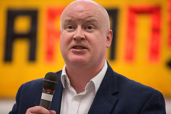 London, UK. 2nd March, 2019. Senator Paul Gavan of Sinn Féin addresses the ¡No Pasaran! Confronting the Rise of the Far-Right conference at Bloomsbury Central.