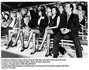 Liz Brewer, Shakira Caine, Dorit Zarach, Lady Russell and Lord Francis Russell at a Yves St. Laurent fashion show. Duke oof Yorks Barracks. London. 22 September 1988. film 88856f21<br />