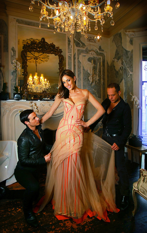 Rebecca Twigley &amp; J Aton Couture boys Jacob  left  &amp; Anthony  right  at J Aton Couture @ 185 Greville Street, Prahran fitting Rebecca for Brownlow night.      Pic By Craig Sillitoe. The Sunday Age melbourne photographers, commercial photographers, industrial photographers, corporate photographer, architectural photographers, This photograph can be used for non commercial uses with attribution. Credit: Craig Sillitoe Photography / http://www.csillitoe.com<br />