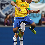 Hulk, Brazil, wins a header from Pablo Zabaleta, Argentina, during the Brazil V Argentina International Football Friendly match at MetLife Stadium, East Rutherford, New Jersey, USA. 9th June 2012. Photo Tim Clayton