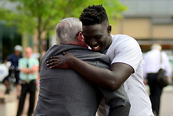 Mayor Jim Kenney and Cheick Diawara at a Stand 4 Peace anti gun-violence rally in Love park, on Tuesday, The event was held in reaction to the mass-shooting that killed one and injured six at a graduation party in South Philadelphia, on Father's Day.