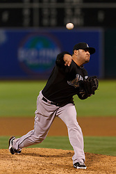 June 29, 2011; Oakland, CA, USA; Florida Marlins starting pitcher Ricky Nolasco (47) pitches against the Oakland Athletics during the ninth inning at the O.co Coliseum.  Florida defeated Oakland 3-0.