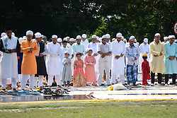 June 26, 2017 - Kolkata, West Bengal, India - Indian Muslim devotees  offering the Eid al Fitr prayers at Red Road in Kolkata, India on Monday, 26th June , 2017. Muslims around the world are celebrating Eid al Fitr to mark the end of the holy fasting month of Ramadan. (Credit Image: © Sonali Pal Chaudhury/NurPhoto via ZUMA Press)