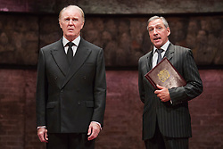 © Licensed to London News Pictures. 08/09/2014. London, England. Pictured: Tim Pigott-Smith as Charles and Miles Richardson as James Reiss. King Charles III, a play in blank verse by Mike Bartlett and directed by Rupert Goold has now transferred from the Almeida to Wyndham's Theatre, London. With Tim Pigott-Smith as Charles. Photo credit: Bettina Strenske/LNP