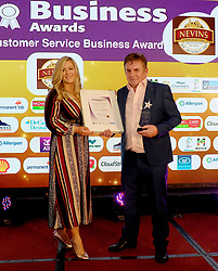 Mayo Business Awards Best Customer Service Award sponsored by Decare Dental was won by Nevin's Inn Tiernaur, Sinead Joyce Decare Dental  presented the award to John Nevin at the awards night in the Broadhaven Hotel Belmullet.<br />