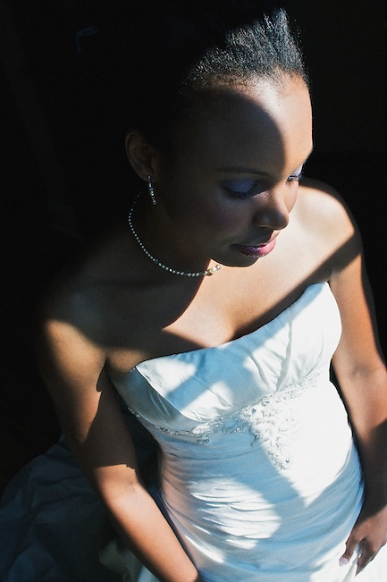 Thalia, enjoying a quiet moment before her wedding ceremony.