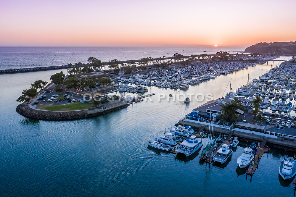 Dana Point Harbor Sunset Aerial View