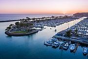 Dana Point Harbor Sunset Aerial View