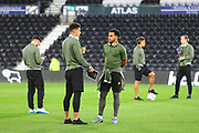 Norwich City midfielder Ben Godfrey (4) and Norwich City midfielder Louis Thompson (34) arrive at the Pride Park Stadium during the EFL Sky Bet Championship match between Derby County and Norwich City at the Pride Park, Derby, England on 3 October 2018.