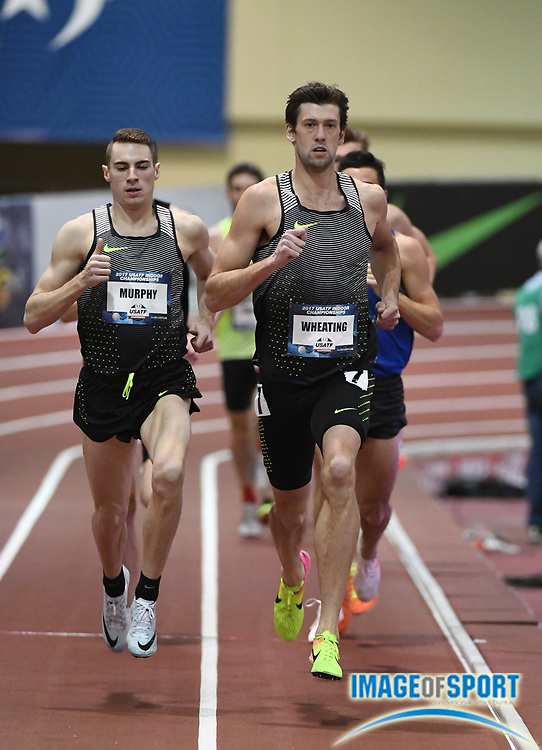 Mar 4, 2017; Albuquerque, NM, USA: Andrew Wheating and Clayton Murphy lead a 1,000m heat during the USA Indoor Championships at Albuquerque Convention Center.