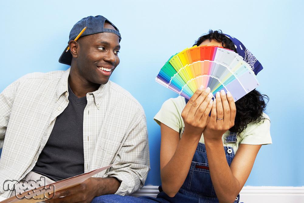 Couple Choosing Paint Color