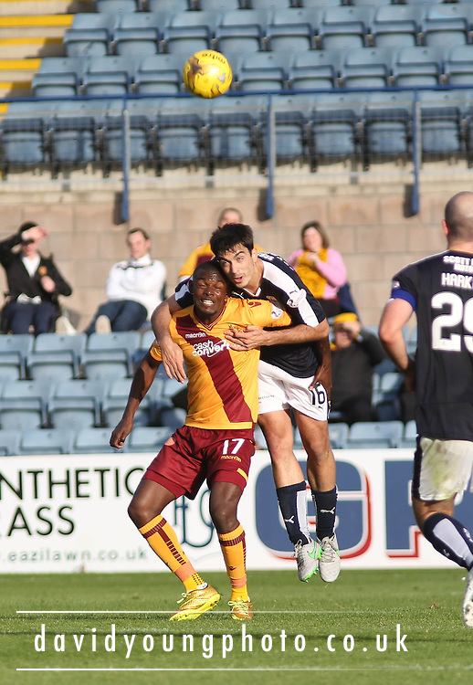 Dundee&rsquo;s Julen Etxabeguren and Motherwell&rsquo;s Theo Robinson - Dundee v Motherwell - Ladbrokes Premiership at Dens Park<br /> <br /> <br />  - &copy; David Young - www.davidyoungphoto.co.uk - email: davidyoungphoto@gmail.com