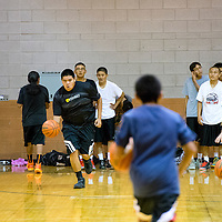 110413    Brian Leddy<br /> The boys run drills at Gallup high School. Monday marked the first day of practice for the Gallup boys basketball team.