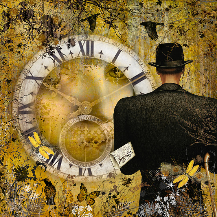 Mysterious gentleman with hat in front of a clock with a woman's portrait in a whimsical warm yellow setting