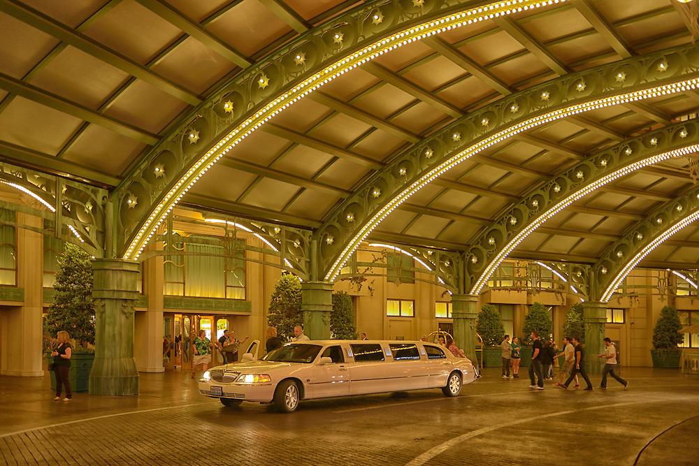 Entrance of Paris Hotel and Casino wirh Limo,Las Vegas, Clark County, Nevada, USA