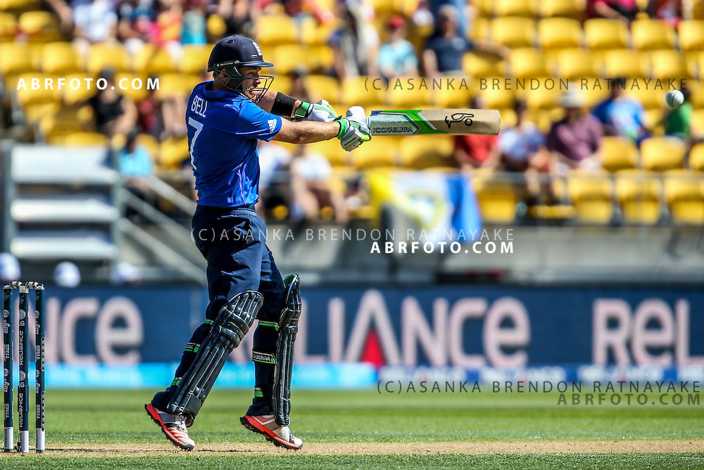 Ian Bell plays a cut shot while batting during the 2015 ICC Cricket World Cup Pool A group match between England Vs Sri Lanka at the Wellington Regional Stadium, Wellington, New Zealand.