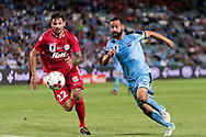 SYDNEY, NSW- NOVEMBER 21: Sydney FC forward Alex Brosque (14) and Adelaide United midfielder Ersan Gulum (22) go for the ball at the FFA Cup Final Soccer between Sydney FC and Adelaide United on November 21, 2017 at Allianz Stadium, Sydney. (Photo by Steven Markham/Icon Sportswire)
