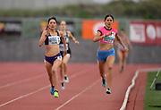 Apr 19, 2019; Torrance, CA, USA; Laura Galvan (left) defeats Fernanda Aguilar Villalo to win an invitational women's 1,500m heat, 4:23.35 to 4:14.16 during the 61st Mt. San Antonio College Relays at El Camino College.
