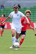 MELBOURNE, VIC - MARCH 06: Meikayla Moore (5) of New Zealand defends the ball from Minji Yeo (20) of Korea Republic during The Cup of Nations womens soccer match between New Zealand and Korea Republic on March 06, 2019 at AAMI Park, VIC. (Photo by Speed Media/Icon Sportswire)
