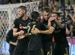 November 1, 2018 - Los Angeles, California, U.S - Danilo Silva #6 of the LAFC celebrates his goal with his teammates during their MLS playoff game with the Real Salt Lake on Thursday November 1, 2018 at Banc of California Stadium in Los Angeles, California. LAFC vs Real Salt Lake. (Credit Image: © Prensa Internacional via ZUMA Wire)