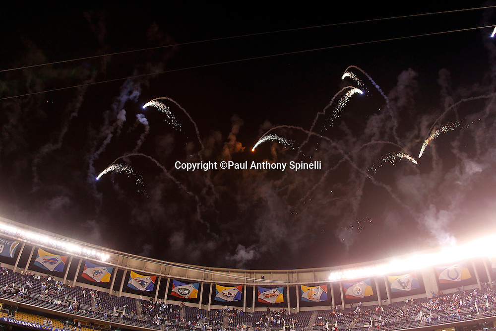 Fireworks go off over Qualcomm Stadium after the San Diego Chargers NFL week 15 football game against the San Francisco 49ers on Thursday, December 16, 2010 in San Diego, California. The Chargers won the game 34-7. (©Paul Anthony Spinelli)