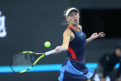 BEIJING, Oct. 3, 2018  Caroline Wozniacki of Denmark hits a return during the women's singles second round match against Petra Martic of Croatia at China Open tennis tournament in Beijing, China, Oct. 3, 2018. Caroline Wozniacki won 2-0. (Credit Image: © Song Yanhua/Xinhua via ZUMA Wire)