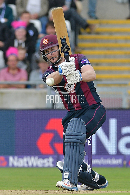 Alex Wakely drives during the NatWest T20 Finals Day 2016 match between Nottinghamshire County Cricket Club and Northamptonshire County Cricket Club at Edgbaston, Birmingham, United Kingdom on 20 August 2016. Photo by Simon Trafford.
