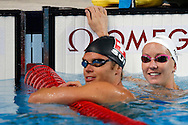 Dominik Meichtry (L) of Switzerland and Jessica Hardy of the United States of America (USA) are pictured during a training session during the 15th FINA World Aquatics Championships at the Palau Sant Jordi in Barcelona, Spain, Saturday, July 27, 2013. (Photo by Patrick B. Kraemer / MAGICPBK)