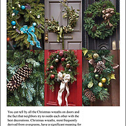 Six image collage of Christmas Wreaths and Christmas Pine Cones.<br /> <br /> The tradition of hanging wreath during Christmas is essentially a Christian ritual  done during the Christmas season.<br /> <br /> Traditionally, the Christmas wreaths were made of evergreen leaves, which are still symbolize the permanence of life. A traditional wreath is a circle, which means that there is no beginning or end and that God is eternal.