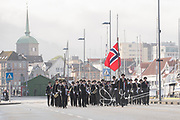 A marching band parades down a street in Bergen during the celebration of Syttende Mai, Norway's Constitution Day, celebrated on May 17th.